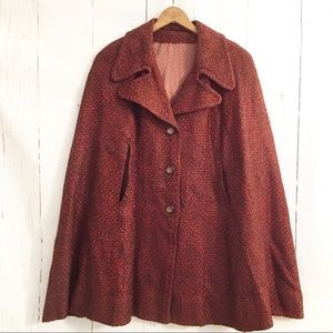 Vtg Cape Shawl Poncho Swing Jacket MOD Retro Coat